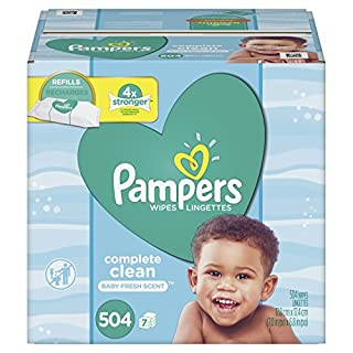 Baby Wipes, Pampers Baby Diaper Wipes, Complete Clean Scented, 7 Refill Packs for Dispenser Tub, 504 Total Wipes