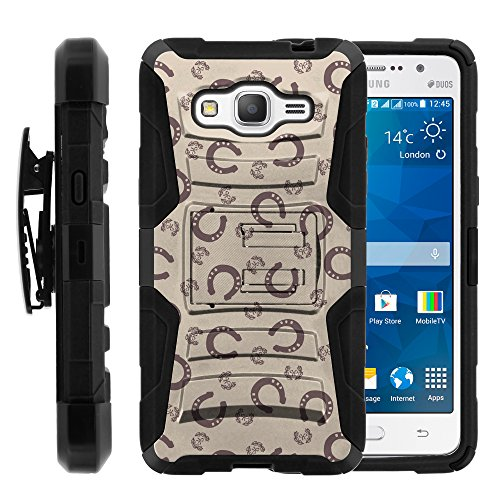 Galaxy Grand Prime Case, Galaxy Grand Prime Holster, Two Layer Hybrid Armor Hard Cover with Built in Kickstand for Samsung Galaxy Grand Prime SM-G530H, SM-G530F (Cricket) from MINITURTLE | Includes Screen Protector - Horse Shoe Pattern