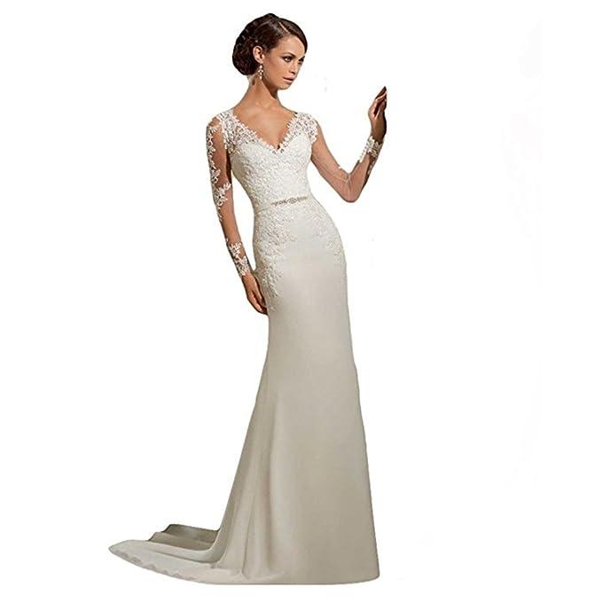 Junes Young - Vestido de encaje de flores elegante y sexy para novia - Corte sirena