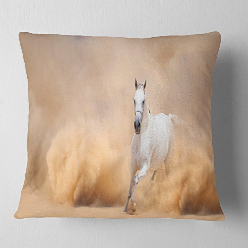 Designart CU6469-18-18 Arabian Horse in Desert Storm' Photography Throw Cushion Pillow Cover for Living Room, Sofa, 18 in. x 18 in, Pillow Insert + Cushion Cover Printed on Both Side by Designart