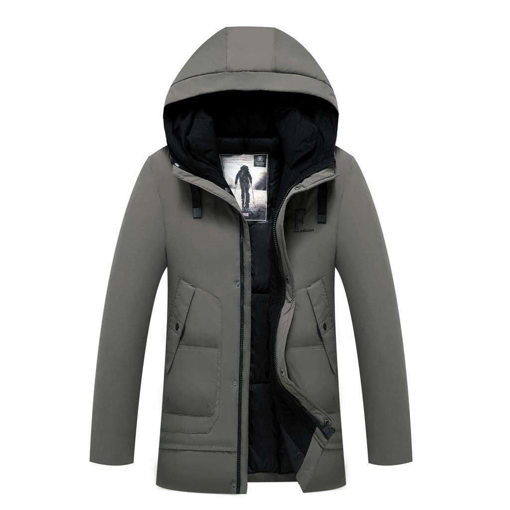 Redacel Mens Winter Jacket Thicken Hooded Long Anorak Parka Padded Windproof Outerwear Coat (Gray,3XL) by Redacel