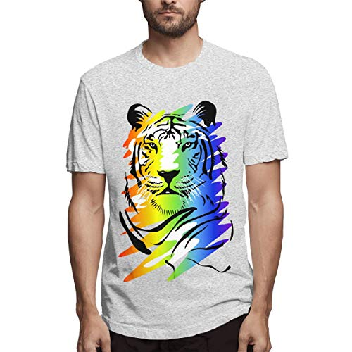 AeosJoy Men's Short Sleeve T-Shirt Pointillism Tee, Men Short Sleeves Causal Gray S