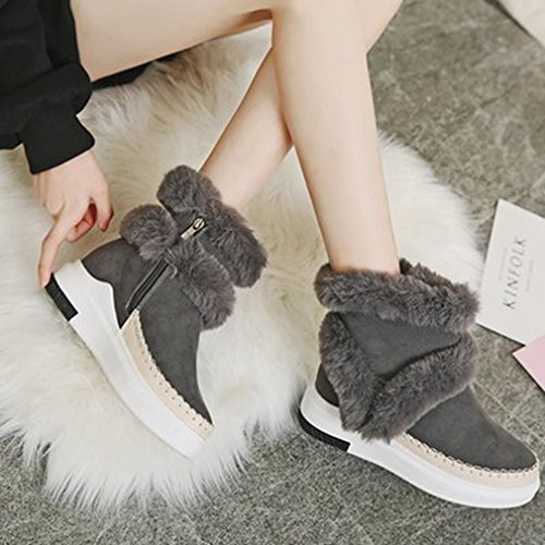 GIY Womens Winter Suede Snow Ankle Boots Fur Round Toe Chunky Heel Waterproof Zipper High Top Snow Boots Gray dxhe2j