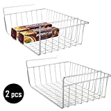 2 pcs Under Cabinet Storage Shelf Wire Basket Organizer Fit Dual Hooks for Extra Storage Space on Kitchen Pantry Desk Bookshelf Cupboard - Premium Anti Rust Stainless Steel Rack - Silver