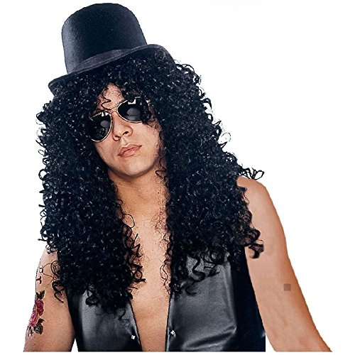 Slash Costume Wig Adult Mens Rock Star 80s Halloween Fancy Dress ()