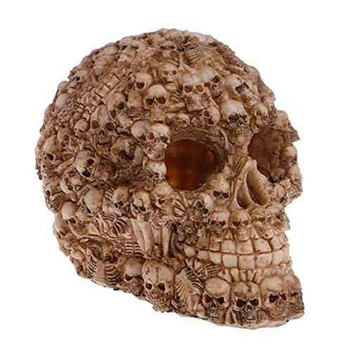 AUOKER Aquarium Decor Resin Artificial Head Skeleton Exotic Environments Decoration, Skull Decorations for Aquarium, Landscape, Reptile House, Reptile Hideaway, Halloween