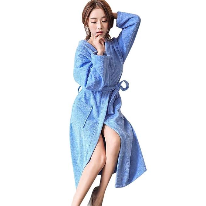 VJGOAL Invierno Mujer Moda Casual Bata de Noche Alargado Albornoz Transpirable Color sólido Bata de baño Empalme Robe de Manga Larga Bata Pijamas: ...
