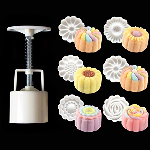 TanQiang 50g 3D Rose Flowers Mooncake Mold 1 Barrel 6 Stamps Set Hand Pressure Fondant Moon Cake Mould DIY Baking Accessories