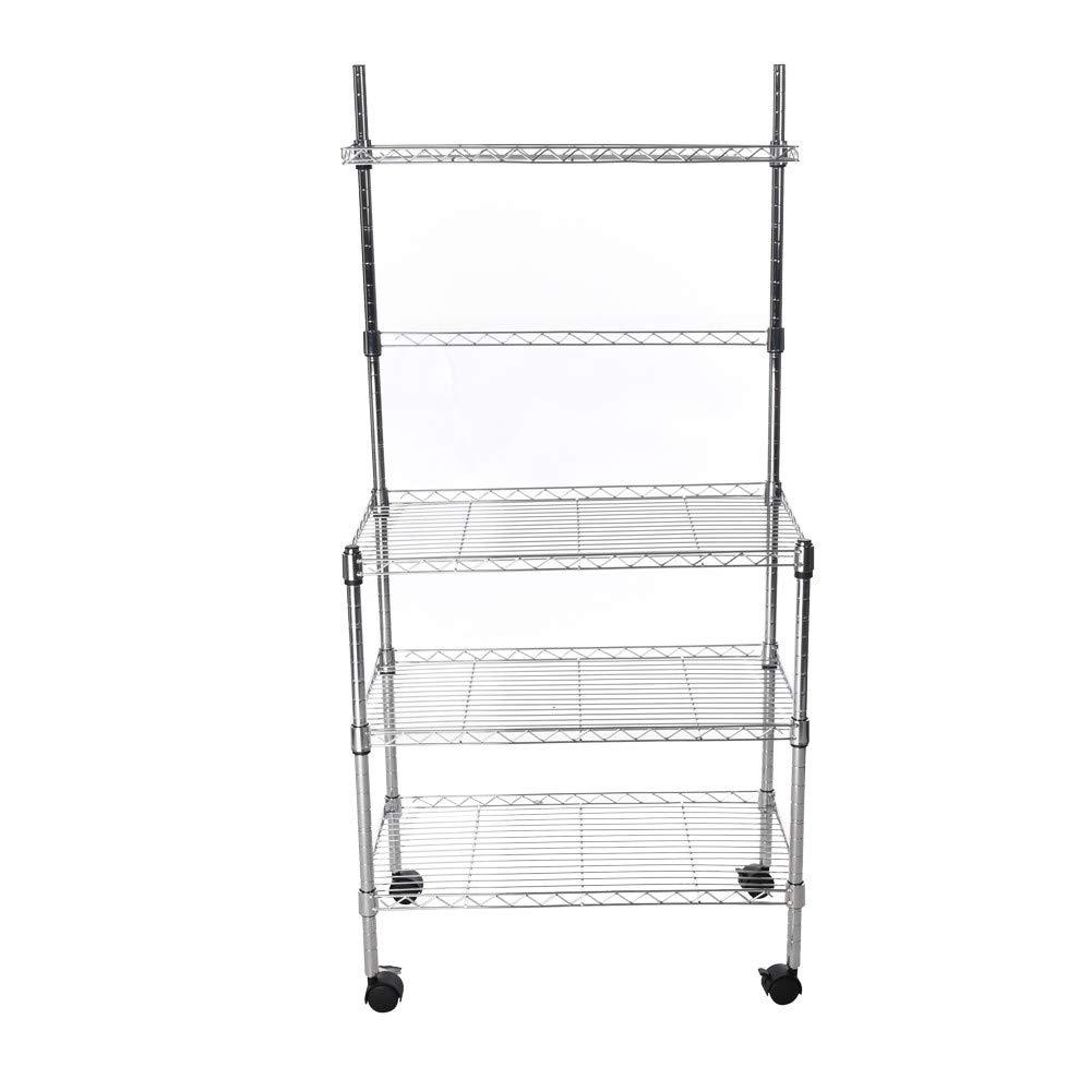 Clearance Kitchen Storage Rack Shelf,3-Layer Microwave Rack Storage Rack with Four-Wheel Storage Rack with Spice Rack for Kitchen Accessories by Aimik
