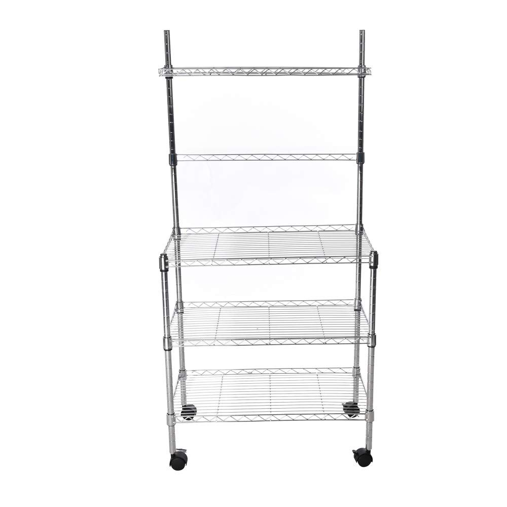 Hisoul Hot  3-Layer Microwave Rack Easy to Move Kitchen Cart Microwave Stand Storage Rack with Four-Wheel Storage Rack with Spice Rack - Silver - 23.62''x13.78''x47.24'' - Shipped from USA (Silver) by Hisoul (Image #3)