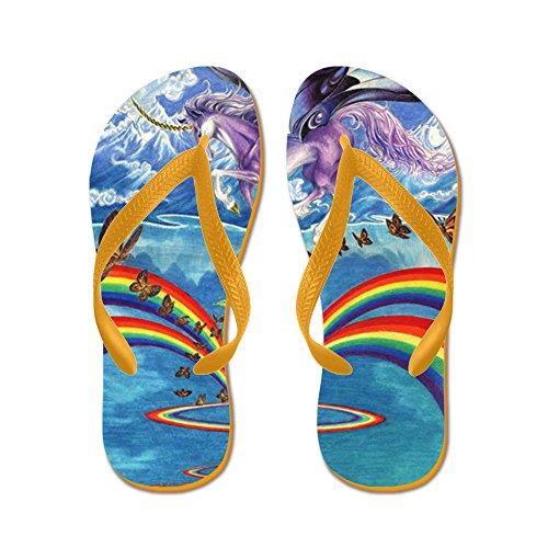Cafepress Unicornslove46x56 - Chanclas, Sandalias Thong Divertidas, Sandalias De Playa Naranja