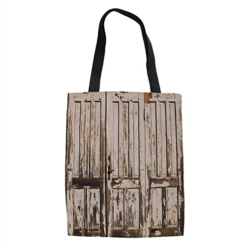 IPrint Rustic,Vintage House Entrance with Vertical Lined Old Planks Distressed Hardwood Design,Brown White Printed Women Shoulder Linen Tote Shopping ()