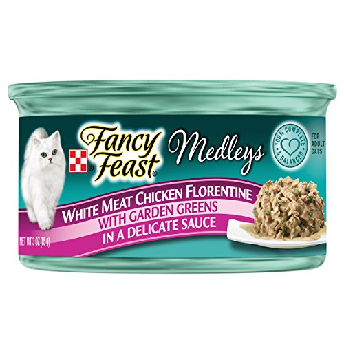 Purina Fancy Feast Medleys White Meat Chicken Florentine With Garden Greens in a Delicate Sauce Adult Wet Cat Food - Twenty-Four (24) 3 oz. Cans by Purina Fancy Feast