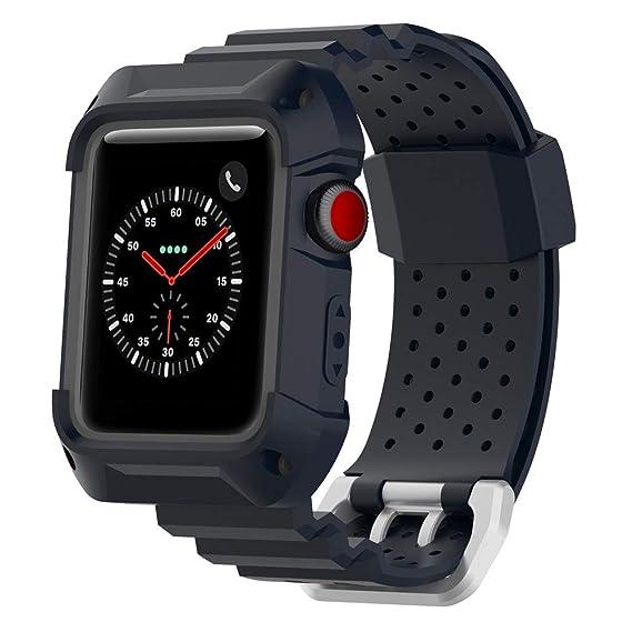 JiaMeng Silicona Banda de Reemplazo Reloj Correa de muñeca Suave de la Correa de Reloj para la Serie del Reloj de Apple 1 2 3 42MM(Azul Profundo): ...