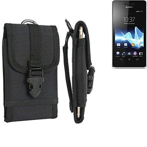 bolsa del cinturón / funda para Sony Xperia V, negro | caja del teléfono cubierta protectora bolso - K-S-Trade (TM)