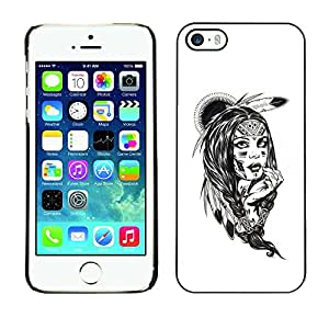 All Phone Most Case / Hard PC Metal piece Shell Slim Cover Protective Case Carcasa Funda Caso de protección para Apple Iphone 5 / 5S Indian girl feather white drawing painting