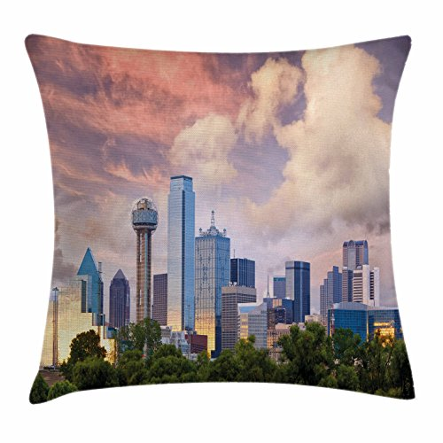 Ambesonne United States Throw Pillow Cushion Cover, Dallas City Skyline at Sunset Clouds Texas Highrise Skyscrapers Landmark, Decorative Square Accent Pillow Case, 16 X 16 Inches, Multicolor ()