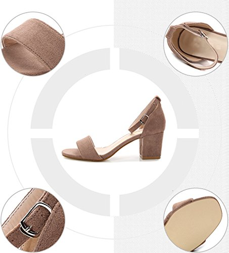 Camssoo Peep Square Camel Sandals Buckle Toe Women's Strappy Low Ankle Velveteen Pumps Shoes Chunk Classic Heeled ArraFn