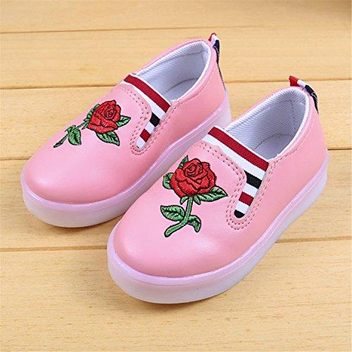 70% OFF LED Luminoso Zapatos Niña,Longra ✿ Niños Zapatos Casual Zapatilla de Deporte de Bordado de Rosas de Los BebésZapatos Niña Vestir Baratos