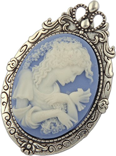 Antique Pewter Acrylic Cameo Brooch Pin Pendant + FREE CHAIN + FREE GIFT BAG