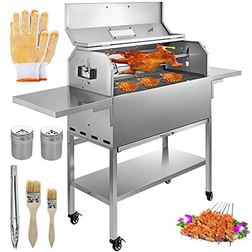 - VBENLEM BBQ Charcoal Grill 25W Heavy Duty Stainless Charcoal Grill Charcoal BBQ Grill Removable 4 RPM Equipped W/Lid Temperature Gauge and Liftable Fire Plate Portable BBQ Grill for Camping