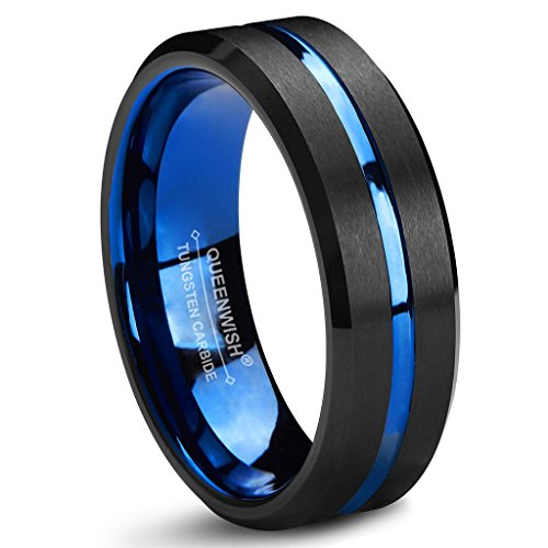 - Queenwish 6mm Tungsten Wedding Band Blue Center Groove Black Brushed Eternity Couples Ladies Rings Size 7