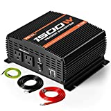 POTEK 1500W Power Inverter Dual AC Outlets 12V DC to 110V AC Car Inverter with 2 USB Port