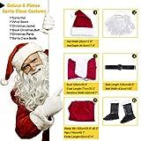BiBOSS Christmas Costumes for Men Santa Claus Costume Velvet Deluxe Santa Suits