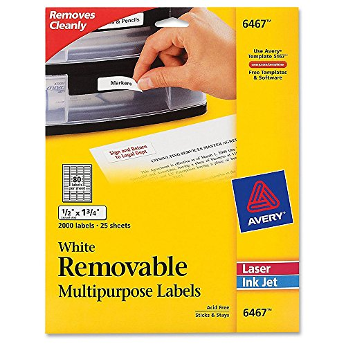 Avery Self-Adhesive White Removable Laser Id Labels, 1/2