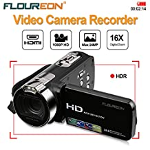 FLOUREON 1080P Full HD Portable Camcorder Digital Video Camera DV 2.7 TFT LCD Screen 16x Zoom 270 Degrees Rotation for Sport /Youtube/Short Films Video Recording Black