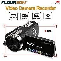 FLOUREON 1080P Full HD Portable Camcorder Digital Video Camera DV 2.7 TFT LCD Screen 16x Zoom 270 Degrees Rotation for Sport /Youtube/Short Films Video Recording (1080P DV Camcorder, BLACK)