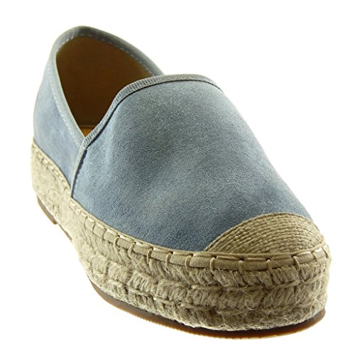 Angkorly Women's Fashion Shoes Espadrilles - Slip-on - Soft - Platform - Cord - Braided - Finish Topstitching Seams Wedge Platform 3.5 cm Blue 5CH7OqH