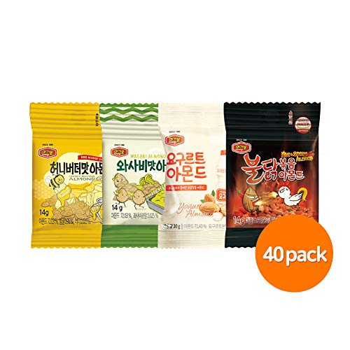 (Almond Snack, Honey Butter, Spicy Chicken, Wasabi, Yogurt, 4 mixed Flavors, 40 Individual Nut Bags, Healthy Korean Joy Keto Snacks In Bulk, 560g by MURGERBON)