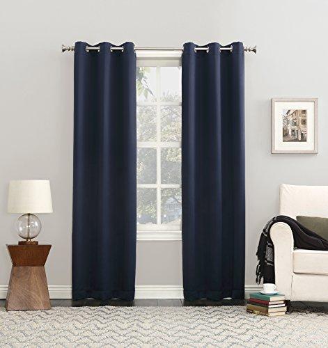 "Sun Zero Easton Blackout Energy Efficient Curtain Panel, 40"" x 84"", Navy Blue"