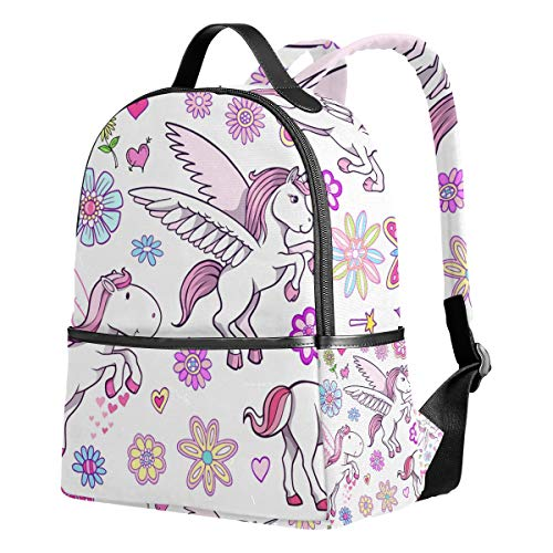 WIHVE School Backpack Unicorn Pegasus Fairytale Spring Bookbag for College Bags Daypack