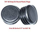 (Pack of 500) 7/8'' Round Snap-On Plastic Tubing Plug, (14 - 20 Ga - 0.71'' to 0.82'' ID) - Furniture Chair/Leg Pipe Tube Cover Insert | Fencing Post Sliding Inserts - End Caps for Fitness Equipment | by