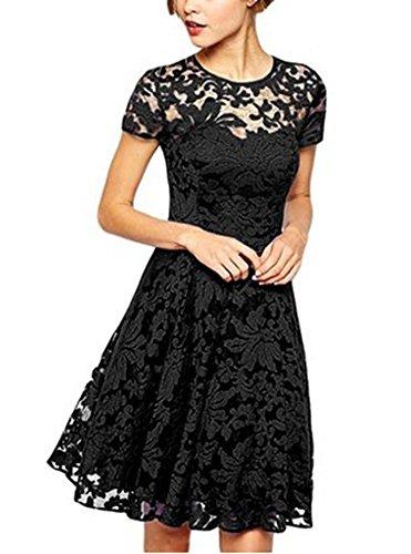 Buy black lace dress china - 7