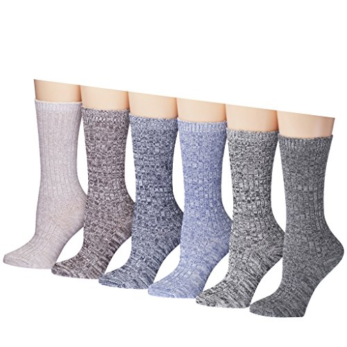 Tipi-Toe-Womens-Ragg-Cotton-Lightweight-Crew-Boot-Socks-6-or-12-pairs