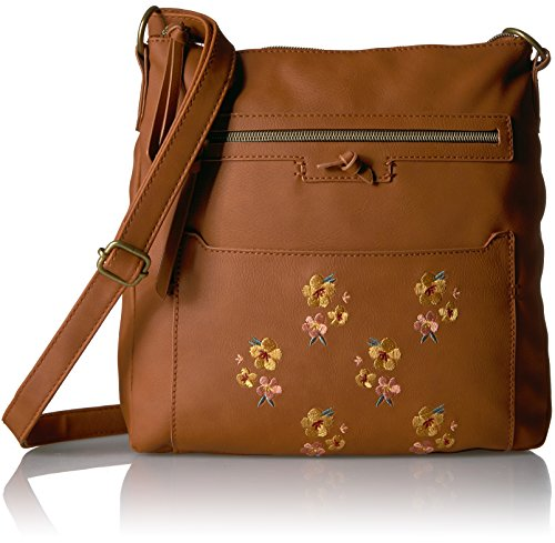 T-Shirt & Jeans Cross Body with Embroidered Flowers, Cognac