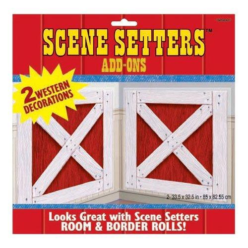 Amscan High Riding Western Barn Shutters Scene Setter Decorating Kit Paper 65