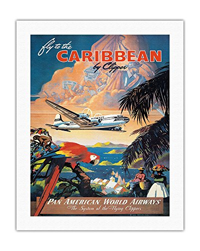 Fly To The Caribbean By Clipper   Pan American World Airways  Paa    Vintage Airline Travel Poster By Mark Von Arenburg C 1940S   Fine Art Print   20In X 26In
