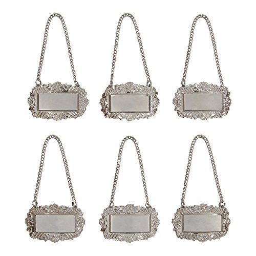 Silver Floral Blank Decanter Labels Plain Liquor Bottle Label Tag Set of 6 -