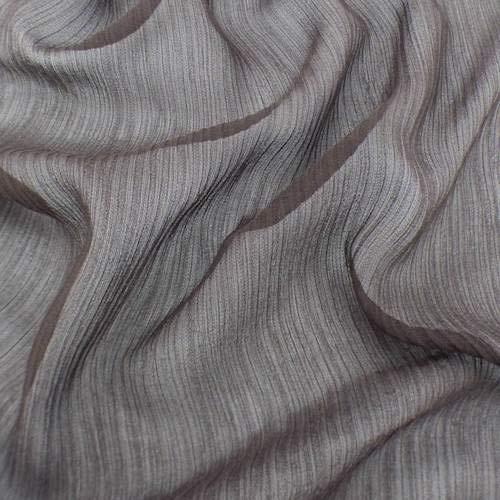 Deep Brown Silk Crinkle Chiffon, Fabric by The Yard