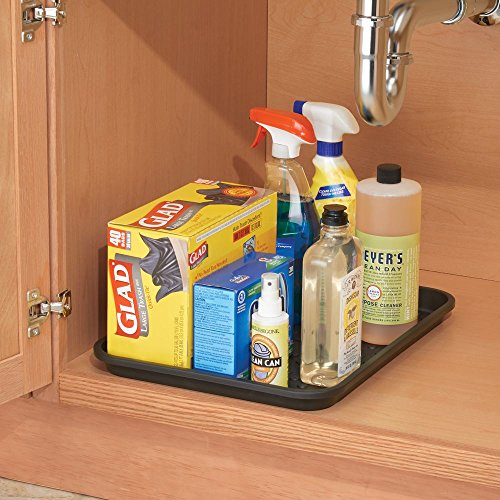 InterDesign Under the Sink Spill Protector Tray for Kitchen Cupboards and Cabinets – Black