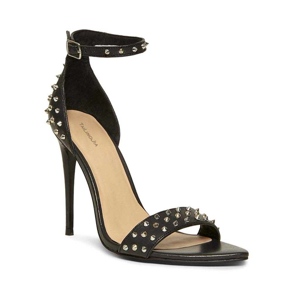 - Women's Fashion Open Toe Rivet Buckle Stiletto Sandals for Wedding, Evening Party, Prom, Cocktail Party