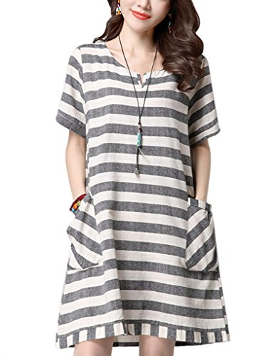 Cotton And Linen Striped Dress - 4
