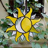 ZangerGlass Sun and Moon Stained Glass Suncatcher Yellow White for Window Hanging or Wall Decor