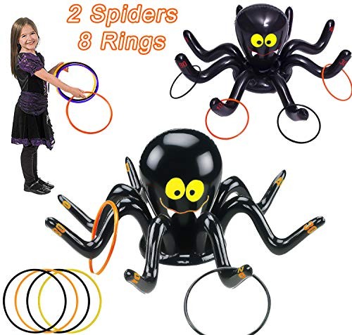 2 Pack Inflatable Spider Witch Hat Ring Toss Game Halloween Party Games for Kids Adult Carnival Party Outdoor Activities Game Spider Toys or Halloween School Holiday Party Favors (2 Spiders+8 Ring)