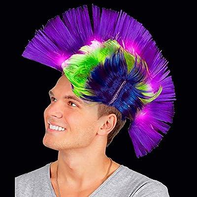 Fun Central LED Light Up Mardi Gras Mohawk Wig Headband for Women & Men: Toys & Games