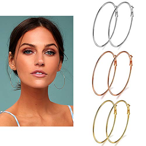 3 Pairs Big Hoop Earrings, 70mm Stainless Steel Hoop Earrings in Gold Plated Rose Gold Plated Silver for Women Girls (70mm)